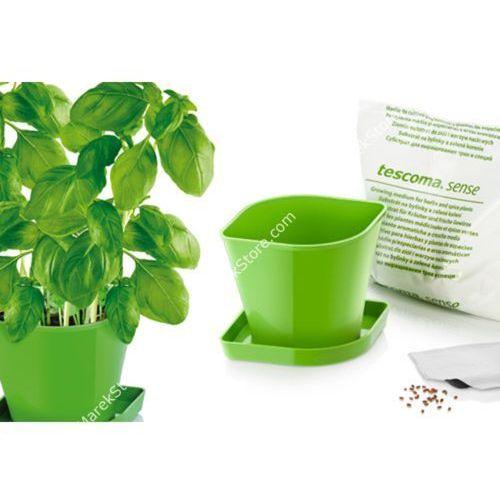 Zioła w kuchni - zestaw donica z podstawką, ziemia oraz nasiona bazylii - kwadratowe, produkt marki Tescoma