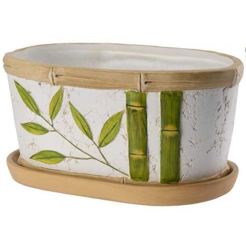 Owalna doniczka Bambus z podstawką 22cm, produkt marki Galicja
