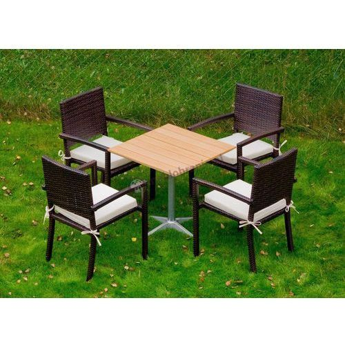Zestaw technorattanowy z drewnianym stolikiem Carino (stół ogrodowy)