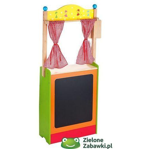 Oferta Sklep drewniany i teatrzyk kukiełkowy z tablicą, Kratka na kurtynach - zabawy w domu, przedszkolu (pacynka, kukiełka)