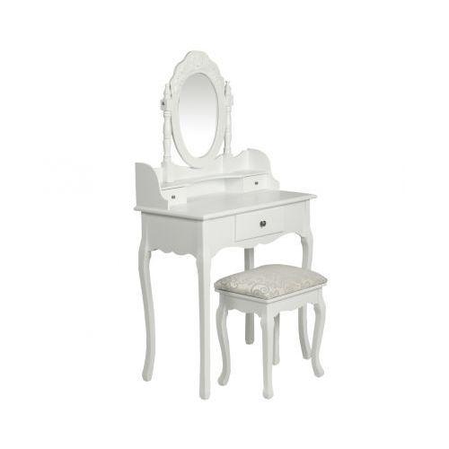 Biała toaletka z lustrem i stołkiem. - oferta [4556e001412284ef]