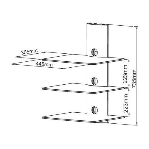 ART D51BB - Półka audio/ video/ DVD hartowane szkło i polerowane aluminium, do 30kg, czarna z kat.: półki