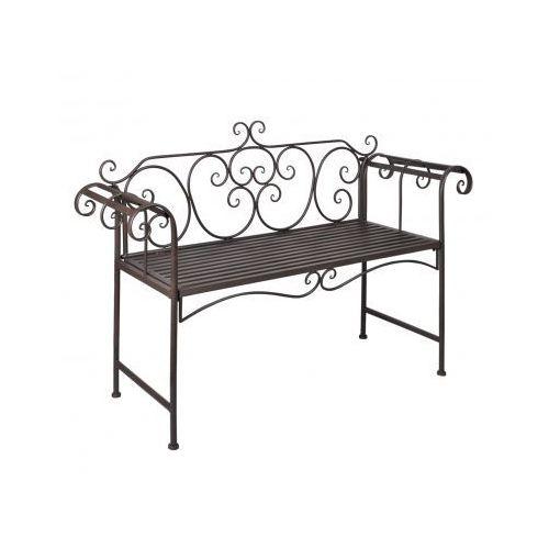 Metalowa ławka, z różanym wzorem, brąz., vidaXL