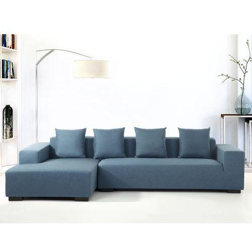 Sofa niebieska - sofa narozna P - tapicerowana - LUNGO, Beliani