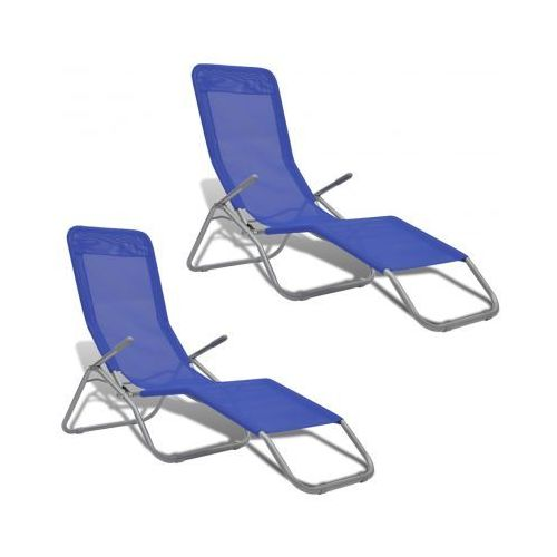 Leżak z ramą wychylną oraz niebieskim materiałem 2 szt - produkt dostępny w VidaXL