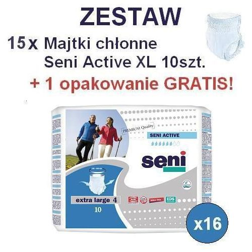 15+1 GRATIS! Majtki chłonne Seni Active XL 10szt., kup u jednego z partnerów