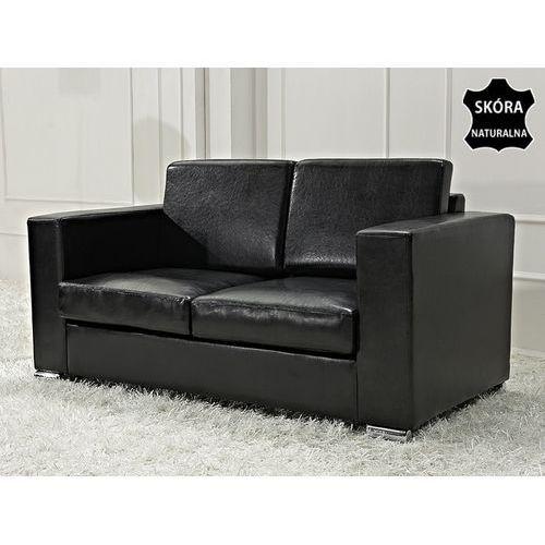 Skórzana sofa dwuosobowa czarna - kanapa - HELSINKI, Beliani