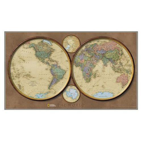 Świat na dwóch półkulach. Mapa ścienna polityczna magnetyczna w ramie 1:37 330 000 wyd. , produkt marki National Geographic