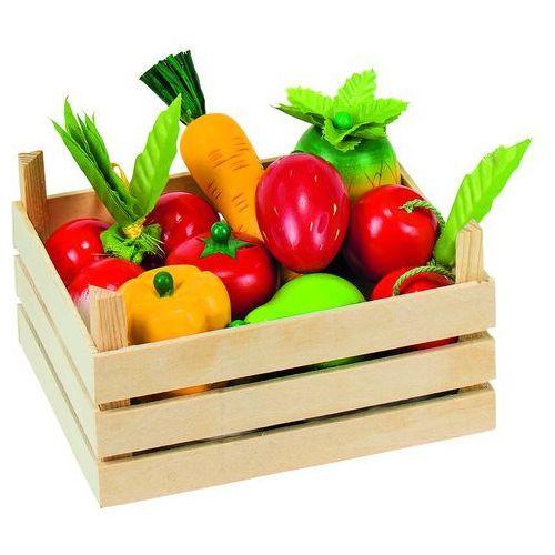 Drewniane owoce i warzywa w skrzyneczce, 51658-Goki, zabawa w sklep, goki z ZieloneZabawki.pl