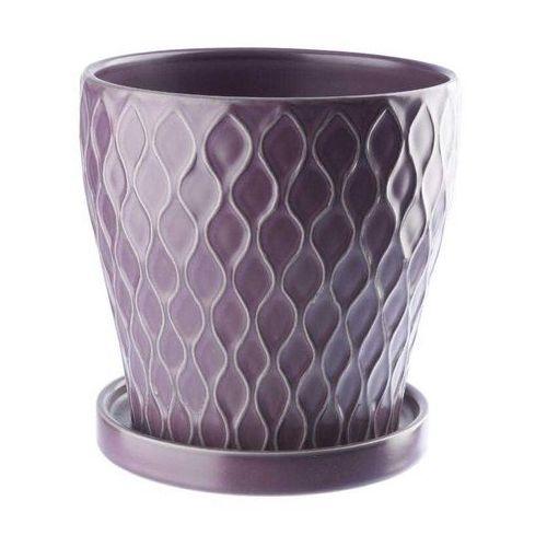 Doniczka ceramiczna z podstawka 13,5 cm fioletowa, produkt marki Galicja