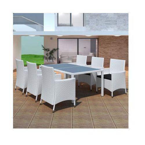 Zestaw ogrodowych mebli rattanowych - 6 krzeseł + stół, biały, produkt marki vidaXL