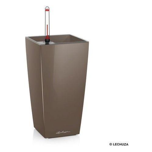Donica  MAXI CUBI - taupe (kawa z mlekiem) - połysk - kawa z mlekiem, produkt marki Lechuza