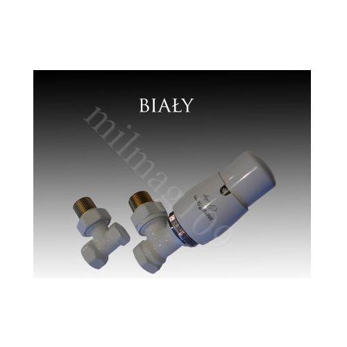 Zestaw zaworów grzejnikowych termostatycznych elegant kątowy biały wyprodukowany przez Mera term