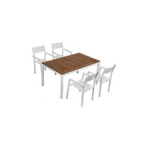 Komplet Malibu (stół + 4 krzesła - biały) (stół ogrodowy)