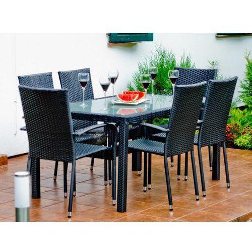 Zestaw mebli obiadowych AVVICENTE czarny technorattan, produkt marki Bello Giardino