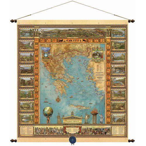 Grecja mapa ścienna 68,5 x 77,5 cm , produkt marki Pergamena