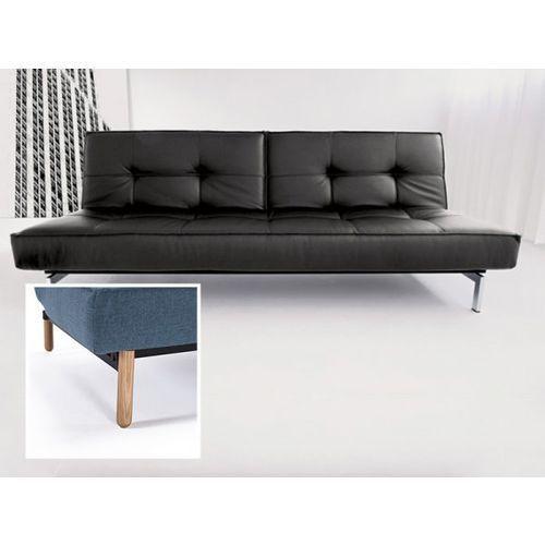 Sofa Splitback czarna 582 nogi jasne drewno Stem  741010582-741041-1-2, INNOVATION iStyle