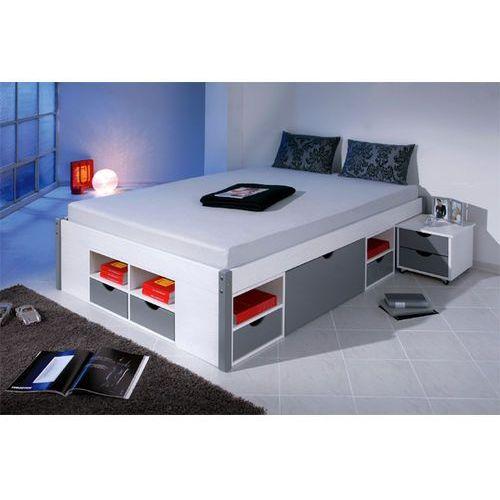 Łóżko Mikar 140 x 200 cm, biały/szary ze sklepu FUTURI Nowoczesne Meble