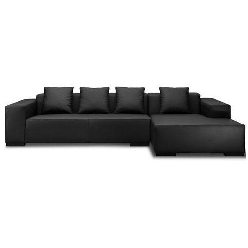 Sofa narozna L – skórzana – drewniane nózki - gleboka czern - LUNGO, Beliani