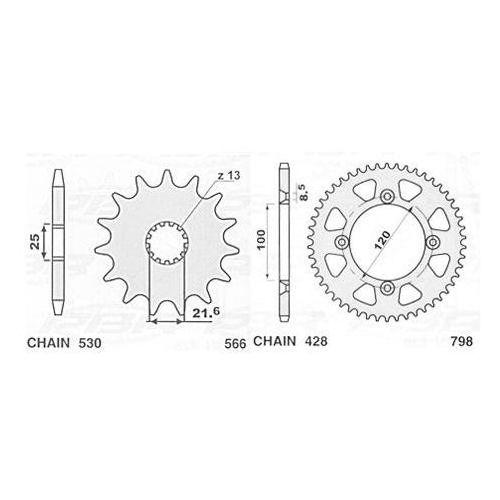 JR ZĘBATKA 566 14 (56614JT) SUZUKI RF/GSX/GSXR/GSF, YAMAHA FZR 600 56614JR