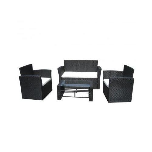 Rattanowy zestaw mebli ogrodowych, czarny, produkt marki vidaXL