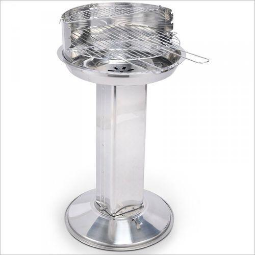 Grill kolumnowy ze stali nierdzewnej z dodatkową półką 47x48x86 cm, produkt marki Rosco