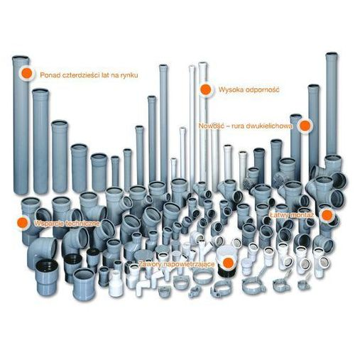 Trójnik kanalizacyjny Wavin HT PVC/PP 75x50/88* stopni popiel