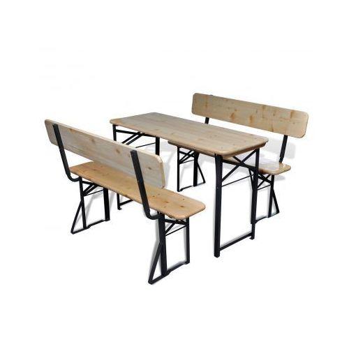 Zestaw mebli do ogródka piwnego, składany stół i ławki, produkt marki vidaXL