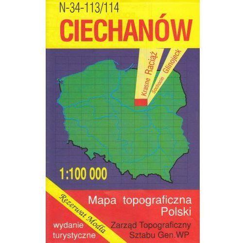 N-34-113/114 Ciechanów. Mapa topograficzno-turystyczna 1:100 000 wyd. WZ-Kart, produkt marki Wojskowe Zakłady Kartograficzne