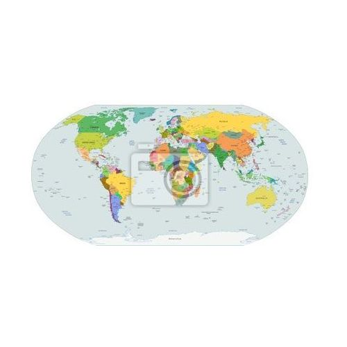 Naklejka Globalna mapa polityczna świata, wektor, produkt marki myloview