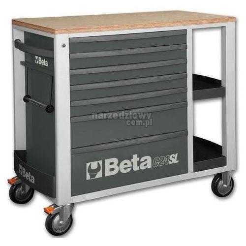 Produkt BETA Wózek narzędziowy z siedmioma szufladami i bocznymi półkami model 2400/C24SL + ZEGAREK NA RĘKĘ, Kolor: szary