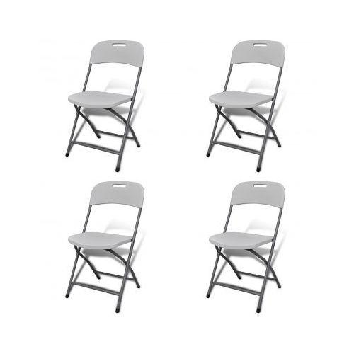 Białe składane krzesła ogrodowe 4 szt. trwały HDPE, produkt marki vidaXL
