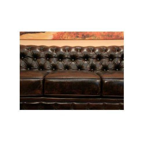 Sofa 2-osobowa CHESTERFIELD skóra brąz antique