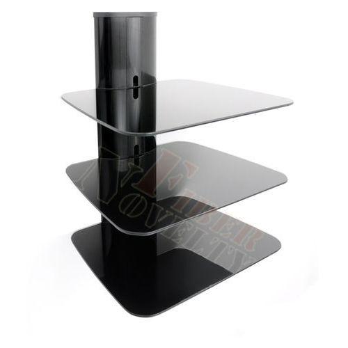 Półka audio video DVD hartowane szkło i aluminium - DVD88B, marki Fiber Novelty do zakupu w Meble RTV