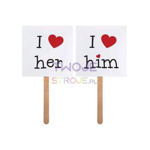 KARTECZKI [I LOVE HIM/HER] DO ZDJĘĆ (galanteria ślubna)