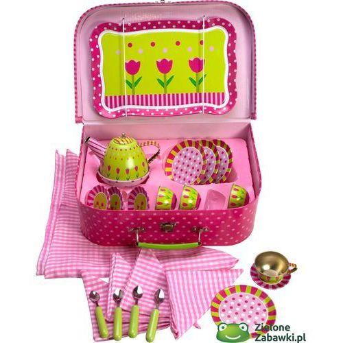 Zestaw herbaciany, walizka na piknik, tulipany, BJ604-, Bigjigs Toys z ZieloneZabawki.pl