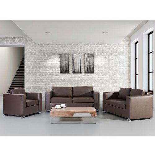 Skórzana sofa brazowa rozmiar XXL 2 sofy + 1 fotel HELSINKI, Beliani