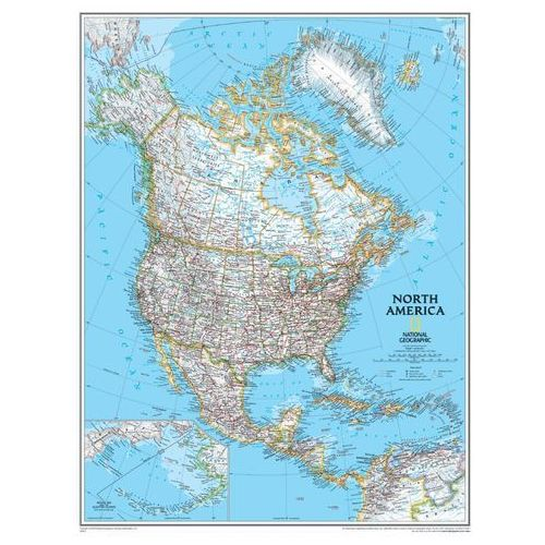 Ameryka Północna. Mapa ścienna polityczna Classic w ramie 1:8,95 mln wyd. , produkt marki National Geographic
