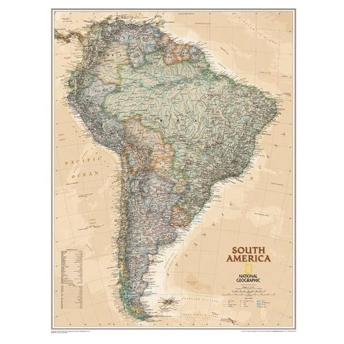 Ameryka Południowa. Mapa ścienna polityczna Executive w ramie 1:7,1 mln wyd. , produkt marki National Geographic