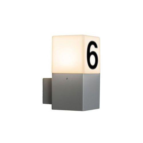 Lampa zewnętrzna ścienna Denmark jasnoszara z numerem domu od lampyiswiatlo.pl
