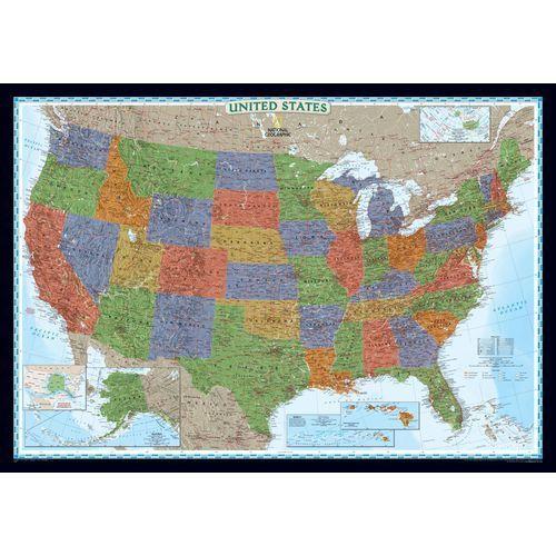 Stany Zjednoczne (USA). Mapa ścienna Decorator magnetyczna w ramie 1:2,8 mln wyd. , produkt marki National Geographic