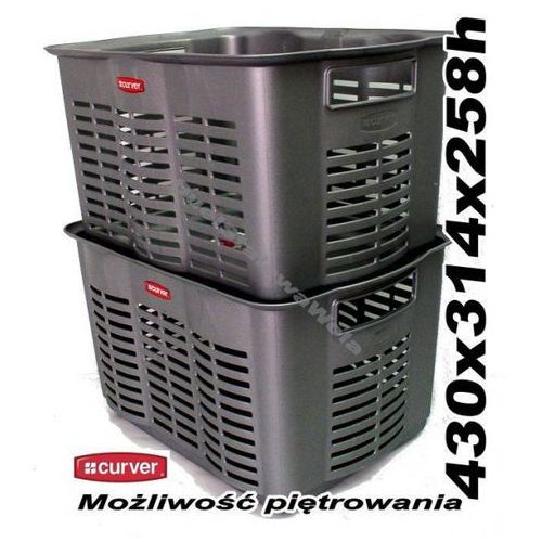 CURVER ALFA 4 srebrny koszyk pojemnik do pietrowania 430x314x258h - produkt dostępny w organizery.eu
