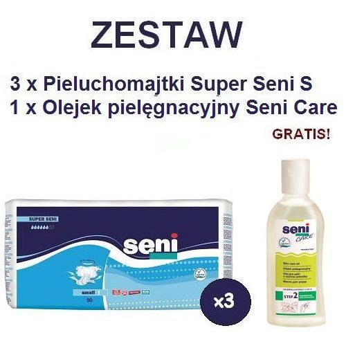 Produkt Pieluchomajtki Super Seni (1) Small 3op. x 30szt + Olejek Seni Care