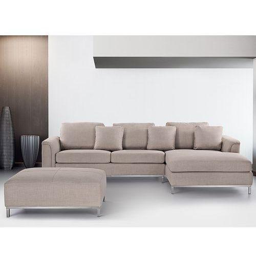 Nowoczesna sofa z pufa w kolorze bezowym - kanapa tapicerowana - OSLO, Beliani