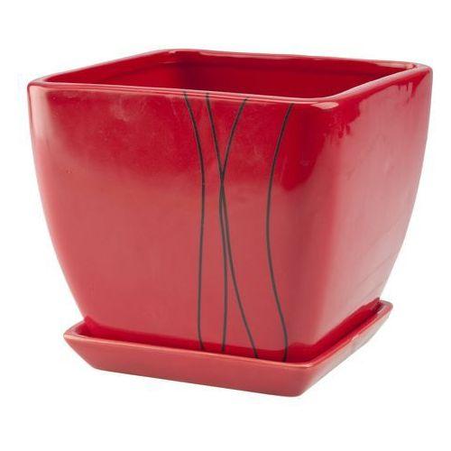 Doniczka z podstawką 15 cm, czerwona, produkt marki Galicja