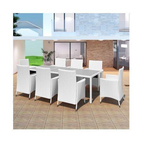 Zestaw ogrodowych mebli rattanowych - 8 krzeseł + stół, biały, produkt marki vidaXL