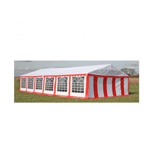 Pawilon ogrodowy 12x6m (dach+penele boczne), czerwono-biały, produkt marki vidaXL