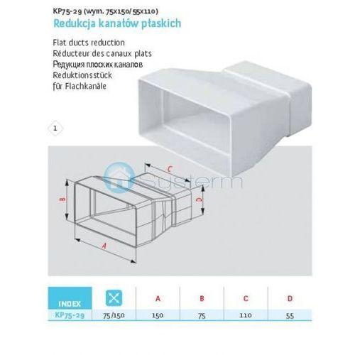 Awenta Redukcja kanałów płaskich wentylacyjnych abs  kp75-29 - 55x110 / 75x150