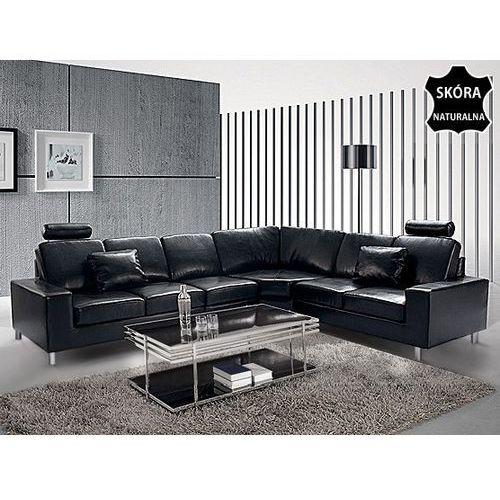 Stylowa sofa kanapa z czarnej skóry naturalnej - naroznik - STOCKHOLM, Beliani