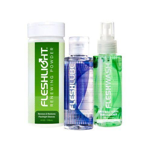 Zestaw spray czyszczący FleshWash + puder regeneracyjny Fleshlight + lubrykant Fleshlube Water 100 ml - ofert